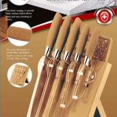 Knivset 7 delar med knivställ och skärbräda, Guld