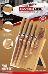 Knivset 7 delar med knivställ och skärbräda, Guld -