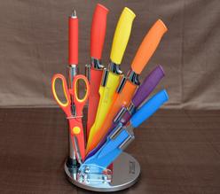 Knivset 8 delar med knivställ, mix -