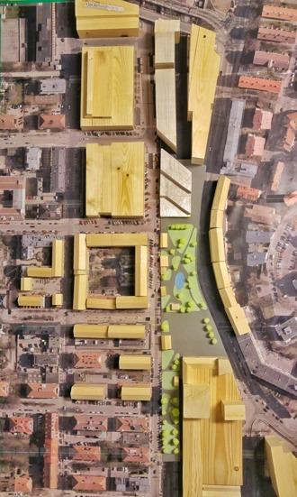 Torget och stadskärnan sedda ovanifrån