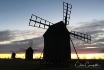 Väderkvarnar i solnedgången på Alvaret Öland 2017