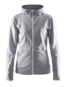 CRAFT Leisure Full Zip Hood W - CRAFT In-The-Zone Full Zip Hood W, Grey Melange, XSmall