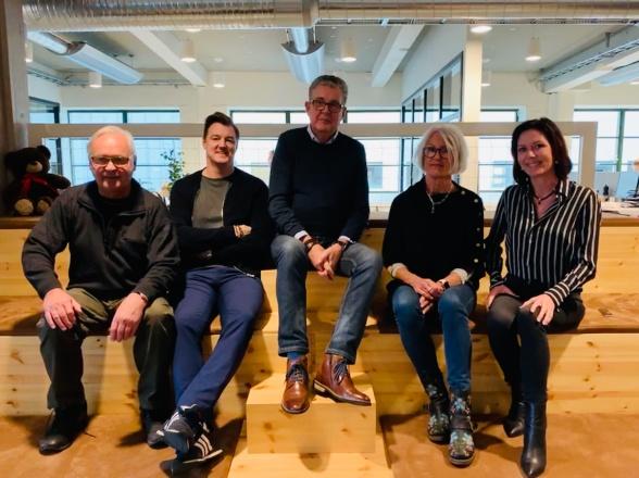På bild Martti, Mathias, Bosse, Maria och Cecilie
