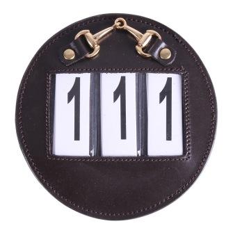 Nummerlapp i läder - Svart/silver