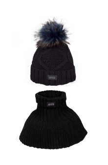 Winter hat with tube scarf Fp Aran - Black