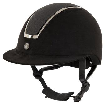 BR Riding Helmet Omega Microfiber Glitter - Black/Gunmetal 52/54