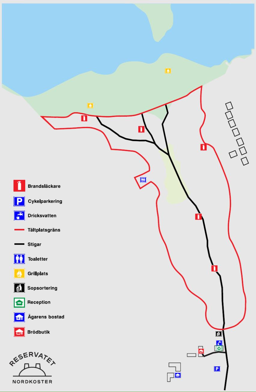 Karta över campingplatsen.