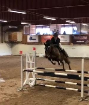 Han hoppade 110 cm rundan med god marginal :-) med bra lotsning av Johanna på ryggen.