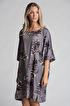 Mönstrad Klänning - Mönstrad klänning grå/lila L