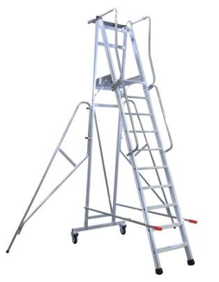 Arbetsplattform med skyddsräcke och hjul, art.nr 7250