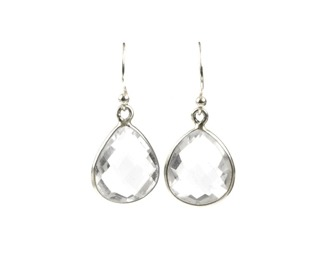 Syster P Raindrop earring silver-crystal