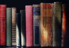 Syntolkning: Gamla böcker i olika storlekar och färger står på rad.
