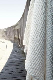Våfflad bomull handduk - Handduk vit medium