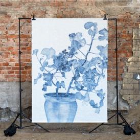 Väggbonad blå pelargon