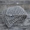 Stickad ullpläd Eldblå - Pläd grå