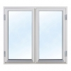 Härbre 18 m² + 18 m² (36m²) + Balkong - Extra fönster vitmålat 100x100cm 2-lufts
