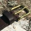 Bälte mörkbrun 32mm - 130cm mässingspänne