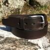 Bälte mörkbrun 38mm - 130cm rostfrittstålspänne