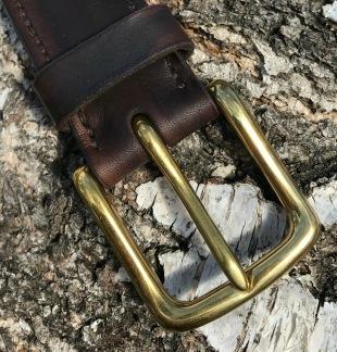 Bälte mörkbrun 38mm - 95cm mässinspänne