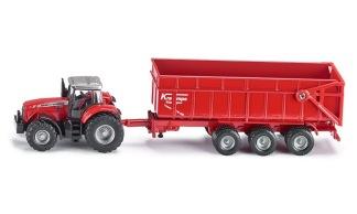 Traktor med släpvagn Massey Ferguson