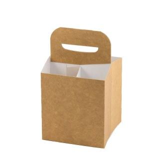 4-Pack för flaskor brun