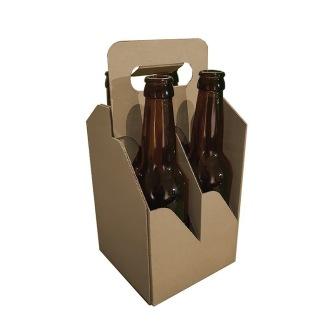 Fyrpack för flaskor brun