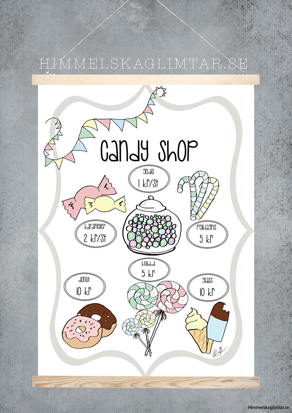 barnrum-barnrumsinredning-poster-himmelskaglimtar-cafeposter-candy shop-lekkök