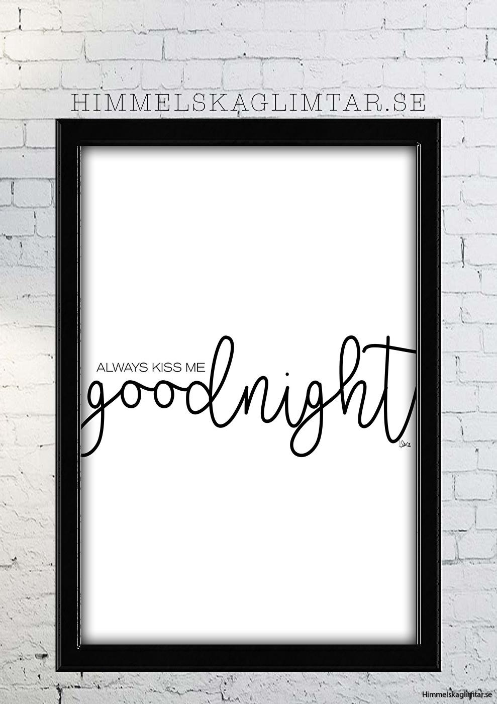 barnrum-barnrumsinredning-barnposter-poster-himmelskaglimtar-poster-kiss me goodnight-inredning