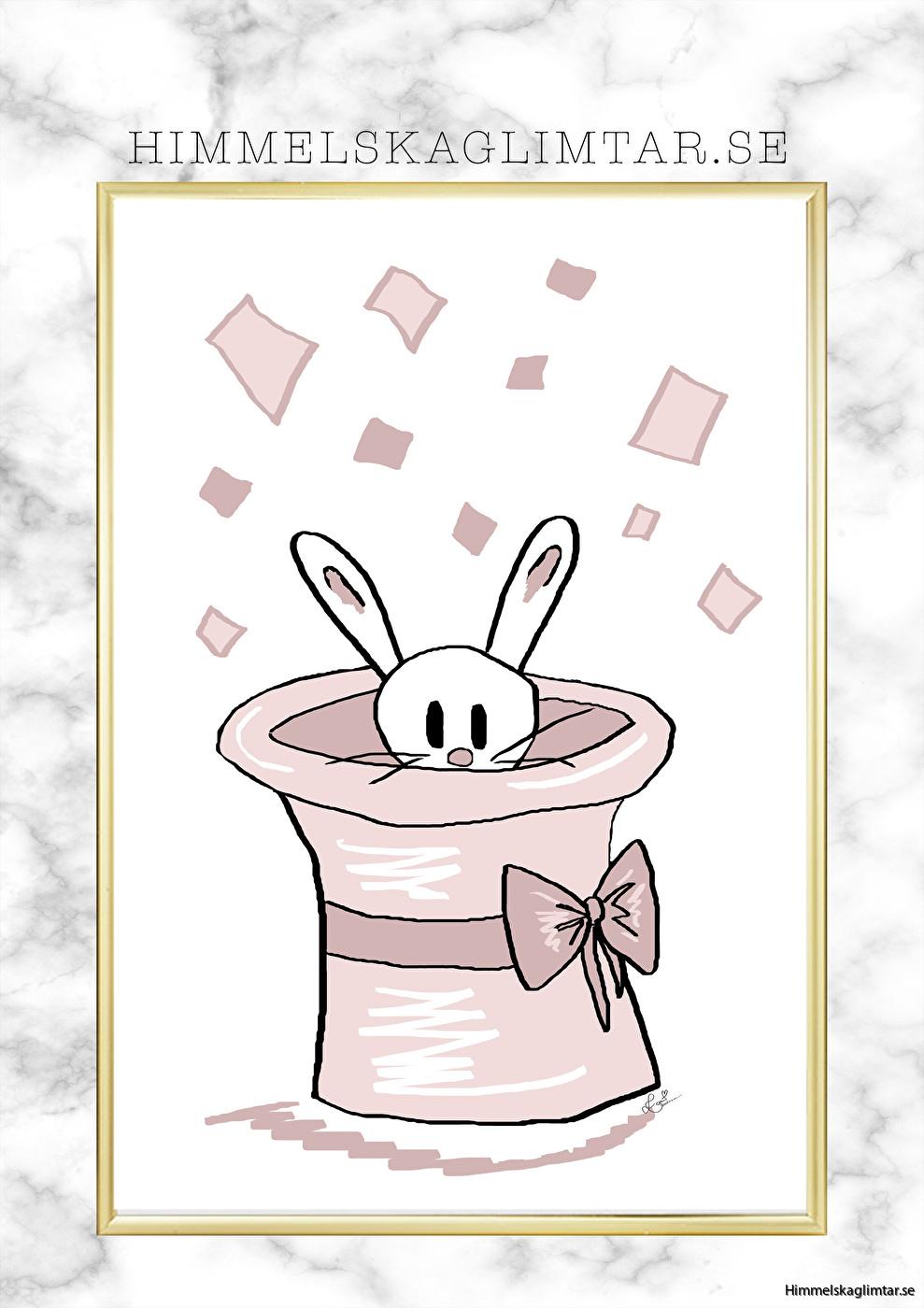 barnrum-barnrumsinredning-barnposter-poster-himmelskaglimtar-kanin i hatten-circus poster-flickrum