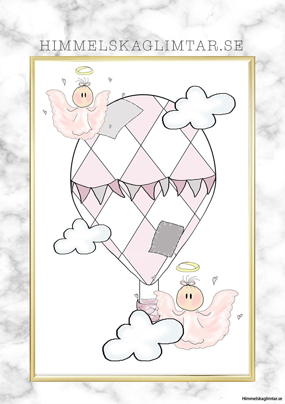 barnrum-barnrumsinredning-barnposter-poster-himmelskaglimtar-luftballong-flickrum-änglar