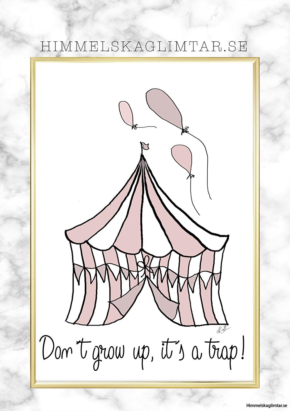 barnrum-barnrumsinredning-barnposter-poster-himmelskaglimtar-dont grow up-flickrum-circus poster