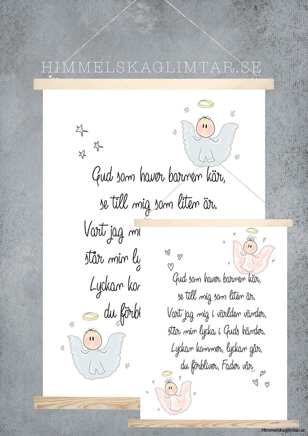 barnrum-barnrumsinredning-poster-himmelskaglimtar-gud som haver-kristen webshop-änglar