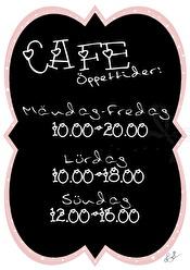Café Öppettider - Olika färger - Öppettider rosa A5