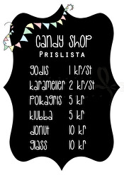 Candy Shop Prislista - Olika färger - Candy Shop Prislista A5