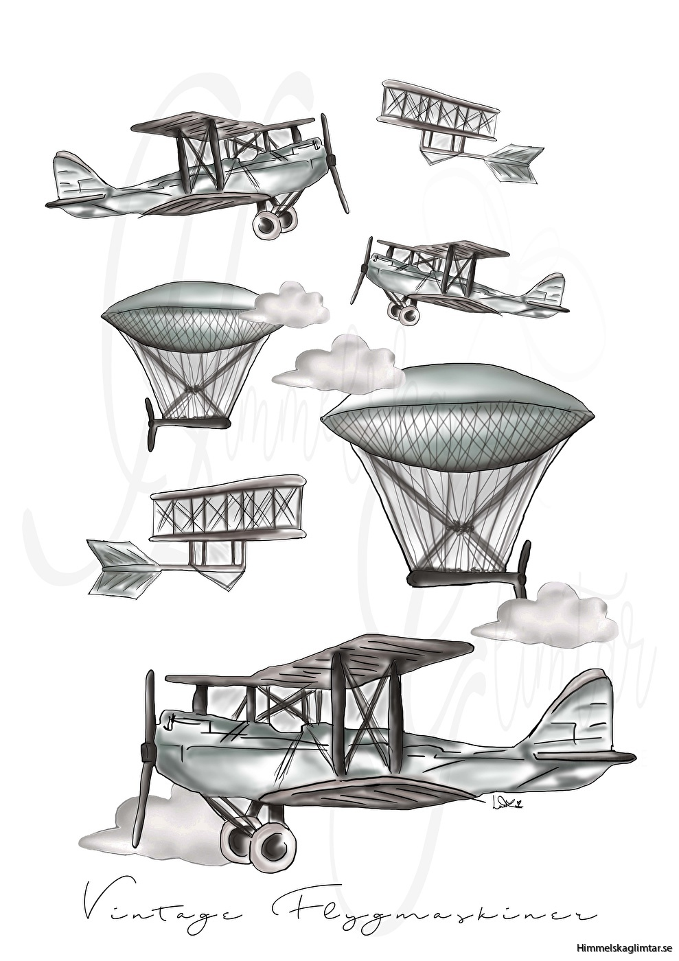 vintage flygmaskiner-himmelskaglimtar-barnrum-barnposter-interior-inredning
