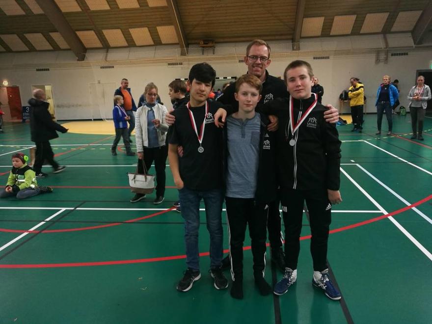 Bodenbrottningarna 2017, Ali Sina, Max, Axel och coach Samuel Gustafsson