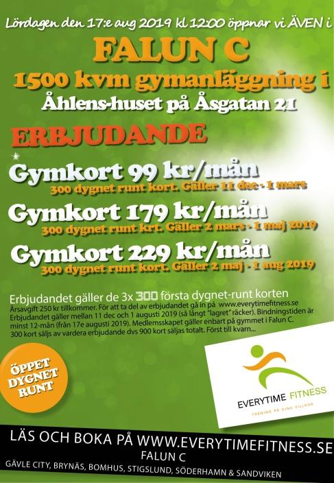 Erbjudande gym Falun Everytime Fitness 17 aug 2019
