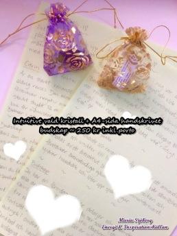 Kristall + handskrivet budskap (A4-sida) - Kristall + budskap
