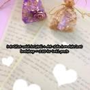 Kristall + handskrivet budskap (A4-sida)