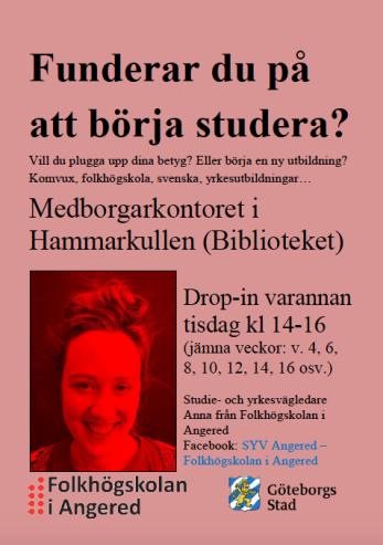 Affischbild om info att gå på studievägledning på Medborgarkontoret