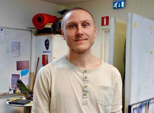 Viktor Kohlin som går Hållbar Konst på Konsten i Samhället