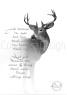 hjort på vit bakgrund med ordspråk