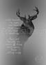 hjort på grå bakgrund med ordspråk