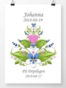 Doptavla Kurbits rosa och blå på vit bakgrund - A4 210 x 297 mm