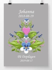 Doptavla kurbits rosa och blå på grå bakgrund - A4 210 x 297 mm