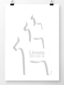 Tre hästar på höjden namntavla i vitt - A4 210 x 297 mm