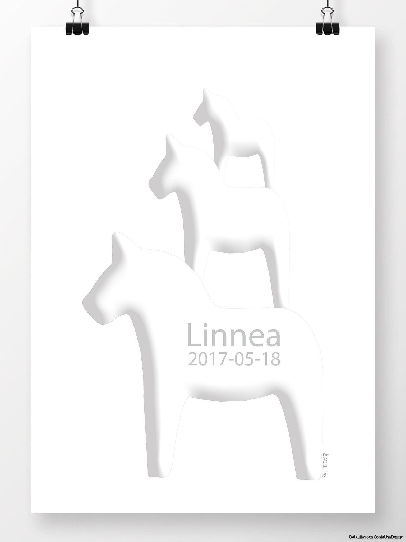 tre hästar på höjden namntavla i vitt