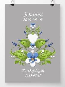 Doptavla kurbits blå och vit på grå bakgrund - A4 210 x 297 mm