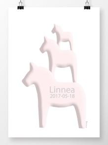 Tre hästar på höjden namntavla i rosa - A4 210 x 297 mm