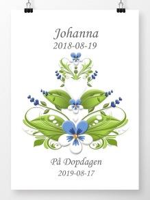 Doptavla kurbits blå och vit på vit bakgrund - A4 210 x 297 mm